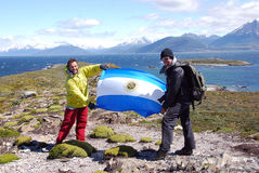Männer zeigen argentinische Flagge Stockfotos