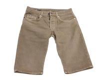 männerkleidung Dunkle beige Farbe der Denimkurzen hosen lizenzfreie stockfotos