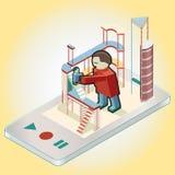 Människa i mobil Arkivbilder