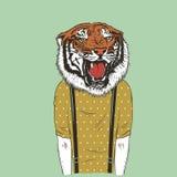 Människa med illustrationen för tigerhuvudvektor vektor illustrationer