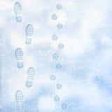 Människa- och hundfotspår på den vita vintern för yttersida snöar Över huvudet sikt Textur av snöyttersida också vektor för corel stock illustrationer