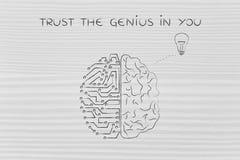 Människa- och strömkretshjärnan som har en idé, litar på snillen i dig Royaltyfri Bild