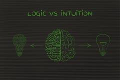 Människa- & strömkretshjärna som har olika idéer, logik vs intuition stock illustrationer