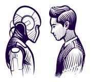 Människa vs roboten Konflikt av konstgjord intelligens och den mänskliga meningen Anställdutbytet skissar vektorbegrepp stock illustrationer