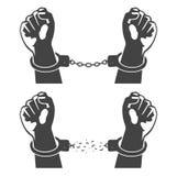 Människahänder i handbojor stock illustrationer