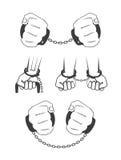 Människahänder i handbojor vektor illustrationer