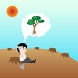 Människan önskar att vara trädet, begreppsräddningjord Arkivfoto