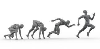 människan 3D sprintar Arkivbild