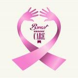 Människan för text för bröstcancermedvetenhetbandet räcker Co Arkivfoton