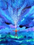 Människan och kraftig energi för ande förbinder till universummakten stock illustrationer