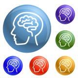 Människan tänker den fastställda vektorn för hjärnsymboler stock illustrationer