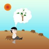 Människan var kalhugger, men han har missande det fortfarande trädet, begreppsräddning jorden Royaltyfri Foto