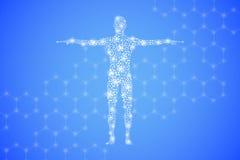 Människokropp med molekylDNA Medicin vetenskap och teknikbegrepp illustration royaltyfri illustrationer