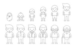 Människolivcirkulering av manligt från nyfött, barn, tonårs- som är vuxna, stock illustrationer