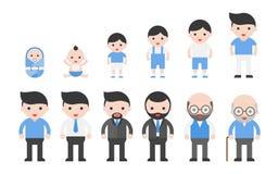 Människolivcirkulering från nyfött till pensionerat stock illustrationer