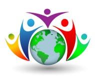 Människor världen runt logo Royaltyfri Foto