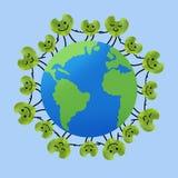 Människor världen runt som rymmer händer, sparar planeten och enheten Royaltyfria Foton