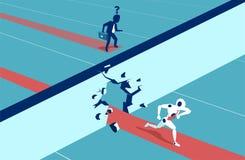 Människor vs robotar running för begrepp för konkurrens för portföljaffärsaffärsman Plan stilvektor Arkivfoto