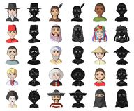 Människosläktetecknade filmen, svarta symboler i den fastställda samlingen för design Folk och rengöringsduk för materiel för nat vektor illustrationer