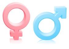 Männlich-weibliche Geschlechtszeichen der Mannfrau Stockfotos