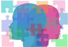 Männlich-weibliche Leuteproblempaar-Puzzlespiellösung Lizenzfreies Stockfoto