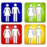 Männlich-weibliche quadratische Ikonen Lizenzfreies Stockbild