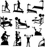 Männliche Übungs-Schattenbilder stock abbildung