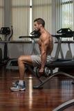 Männliche Athleten-Doing Heavy Weight-Übung für Bizeps Lizenzfreie Stockfotos