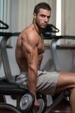 Männliche Athleten-Doing Heavy Weight-Übung für Bizeps Lizenzfreies Stockfoto