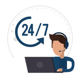 Männliche Call-Center-Unterstützung 24-7 des Charakters vektor abbildung