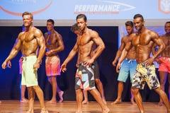Männliche Eignungsmodelle zeigen ihre Konstitution in Badeanzug-OM-Stadium Lizenzfreies Stockbild