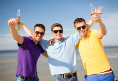 Männliche Freunde auf dem Strand mit Flaschen des Getränks lizenzfreie stockbilder