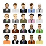 Männliche Gesichter des großen Satzes von unterschiedlichen Rennen, von Avatara oder von Ikone vektor abbildung