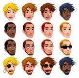 Männliche Gesichter, Vektor trennten Zeichen. Lizenzfreie Stockfotos