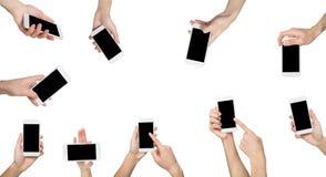 Männliche Hände Zeigen, Smartphone halten Lizenzfreie Stockfotografie