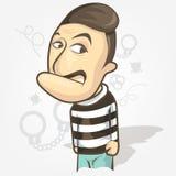 Männliche Haken mit einheitlichen Gefangenen Karikaturillustrationsart Lizenzfreie Stockbilder