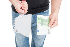 Männliche Hand der Nahaufnahme drohen, Geld zu empfangen lizenzfreie stockbilder