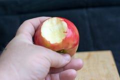 Männliche Hand, die Apfel hält Lizenzfreies Stockbild