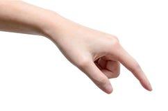 Männliche Hand, die auf etwas sich berührt oder zeigt Lizenzfreies Stockfoto