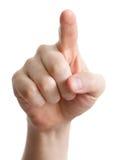Männliche Hand, die auf Weiß zeigt, sich berührt oder sich betätigt Stockfoto