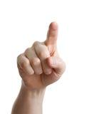 Männliche Hand, die auf Weiß zeigt, sich berührt oder sich betätigt Stockbild