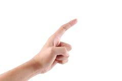 Männliche Hand, die Auswahl auf weißem Hintergrund zeigt Lizenzfreie Stockbilder