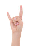 Männliche Hand, die das Schwermetallstein-nrollenzeichen lokalisiert auf Weiß zeigt Lizenzfreies Stockbild