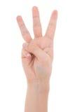 Männliche Hand, die drei Finger lokalisiert auf Weiß zeigt Lizenzfreies Stockfoto