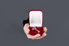 Männliche Hand, die durch den grauen Papierhintergrund bricht und Schlüssel im roten Kasten hält Stockfotos