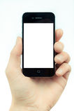Männliche Hand, die ein Smartphonenoten-Computergerät mit isolat hält Stockbild