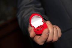 Männliche Hand, die einen Kasten mit Eheringen hält Lizenzfreie Stockfotos