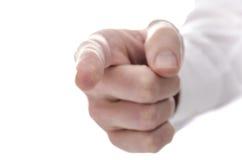 Männliche Hand, die Finger auf Sie zeigt stockfoto