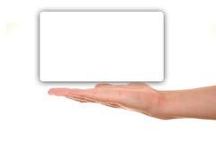 Männliche Hand, die leeres Leerzeichen darstellt Lizenzfreie Stockfotografie