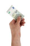 Männliche Hand, halten neue 5-Euro - Scheine stockfotografie